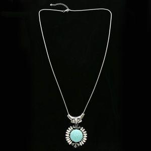 Semi-Precious Stone Crystal Necklace Silver & Blue